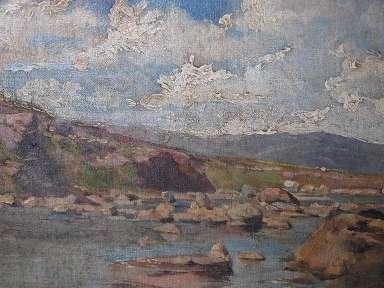 19th Century Oil on Canvas Landscape Painting For Sale 4