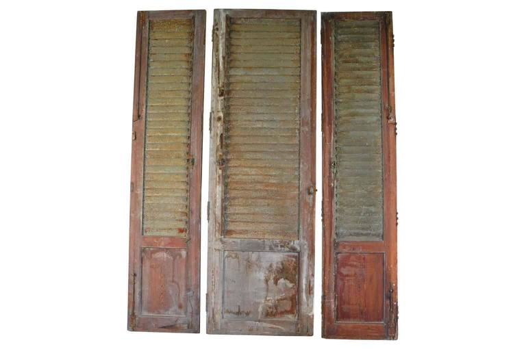 French Set of Three Doors with Metal Louvered Shutters In Good Condition For Sale In Atlanta, GA
