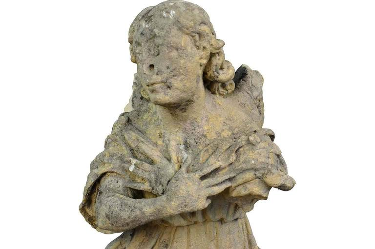 Stunning Pair of French 18th Century Stone Angels For Sale 7