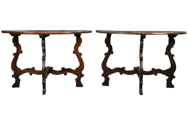 Stunning Pair of 18th Century Italian Demi Lune Console Tables In Excellent Condition For Sale In Atlanta, GA