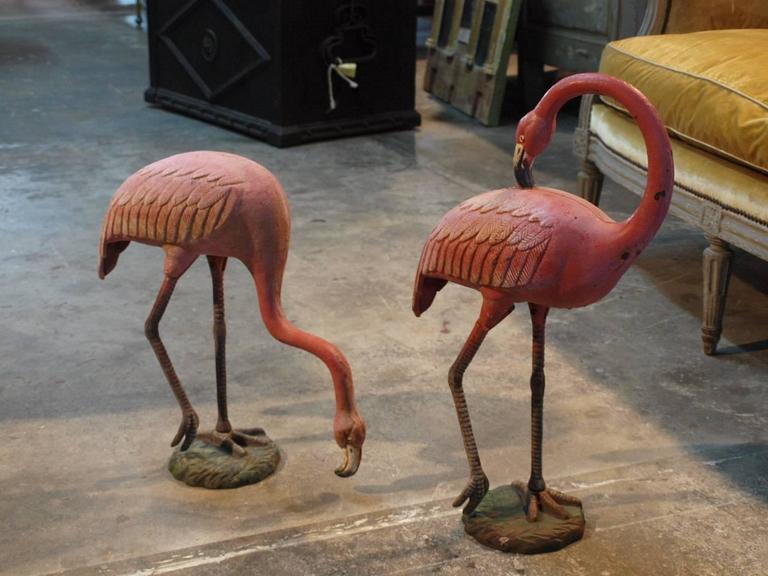 Vintage Pair Of Pink Flamingo Statues At 1stdibs