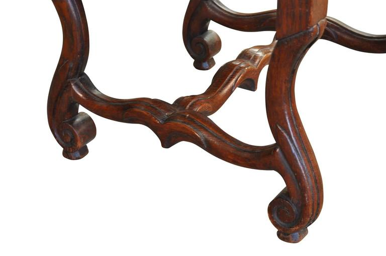 Walnut Set of Six Italian Dining Chairs For Sale