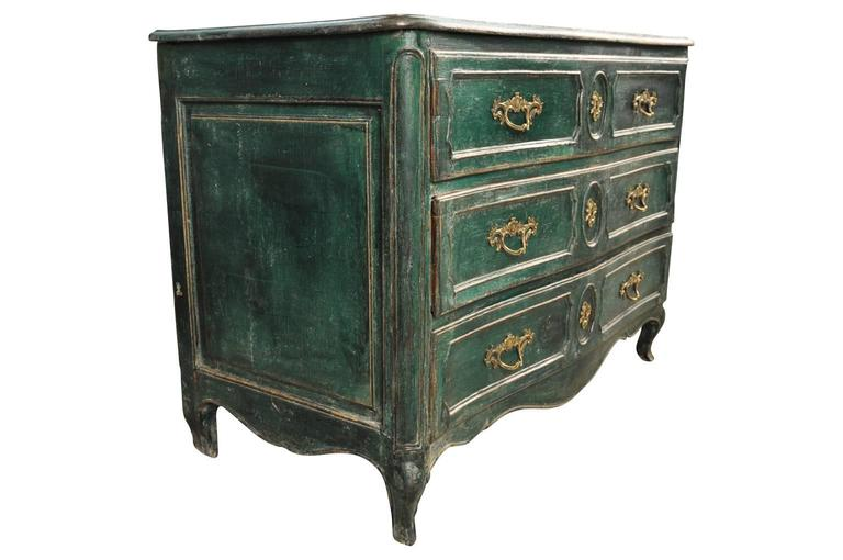 Painted French Early 19th Century Arbalette Commode For Sale