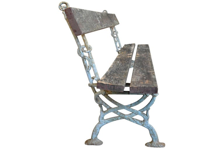 Iron Pair of 19th Century French Garden Benches For Sale