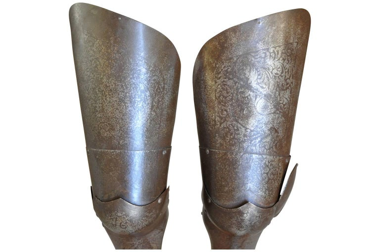 Metal Italian 16th Century Jambieres, Leg Armour For Sale