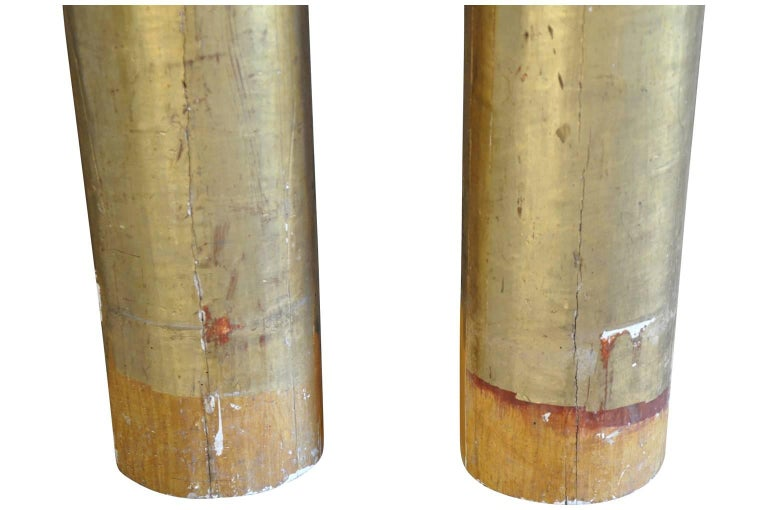 Gilt French Early 19th Century Pair of Columns For Sale
