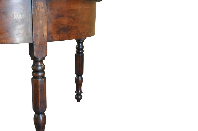 Stained Spanish Early 19th Century Demilune Console Table For Sale