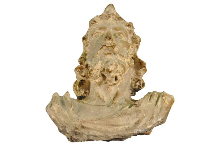 A very striking 16th century statue - head of a nobleman - crafted from Roman concrete - opus caementicium.  Roman concrete is durable due to its incorporation of volcanic ash, which prevents cracks from spreading.  A wonderful accent piece.