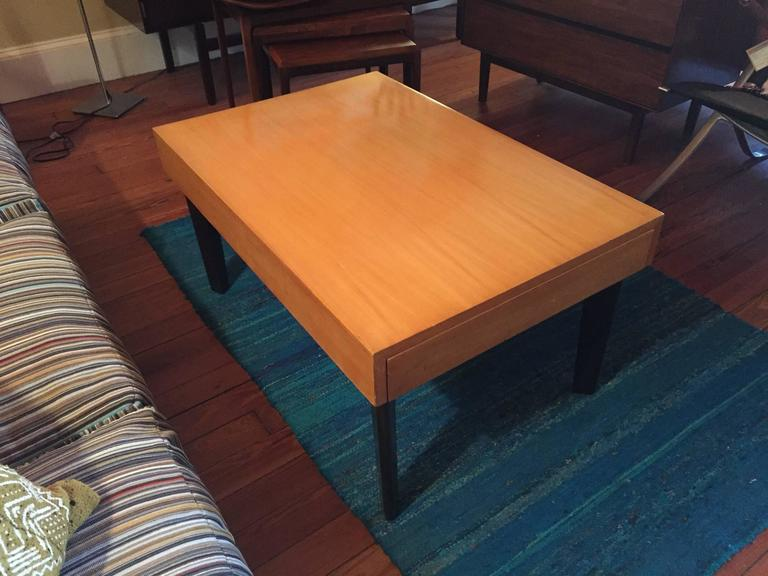 George Nelson Satinwood Coffee Table with Pull Out Trays