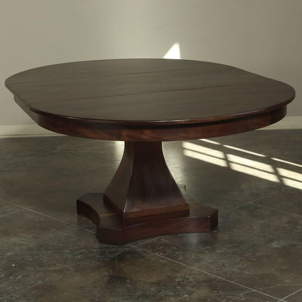 19th century mahogany round louis philipe pedestal dining for Round dining table with leaf