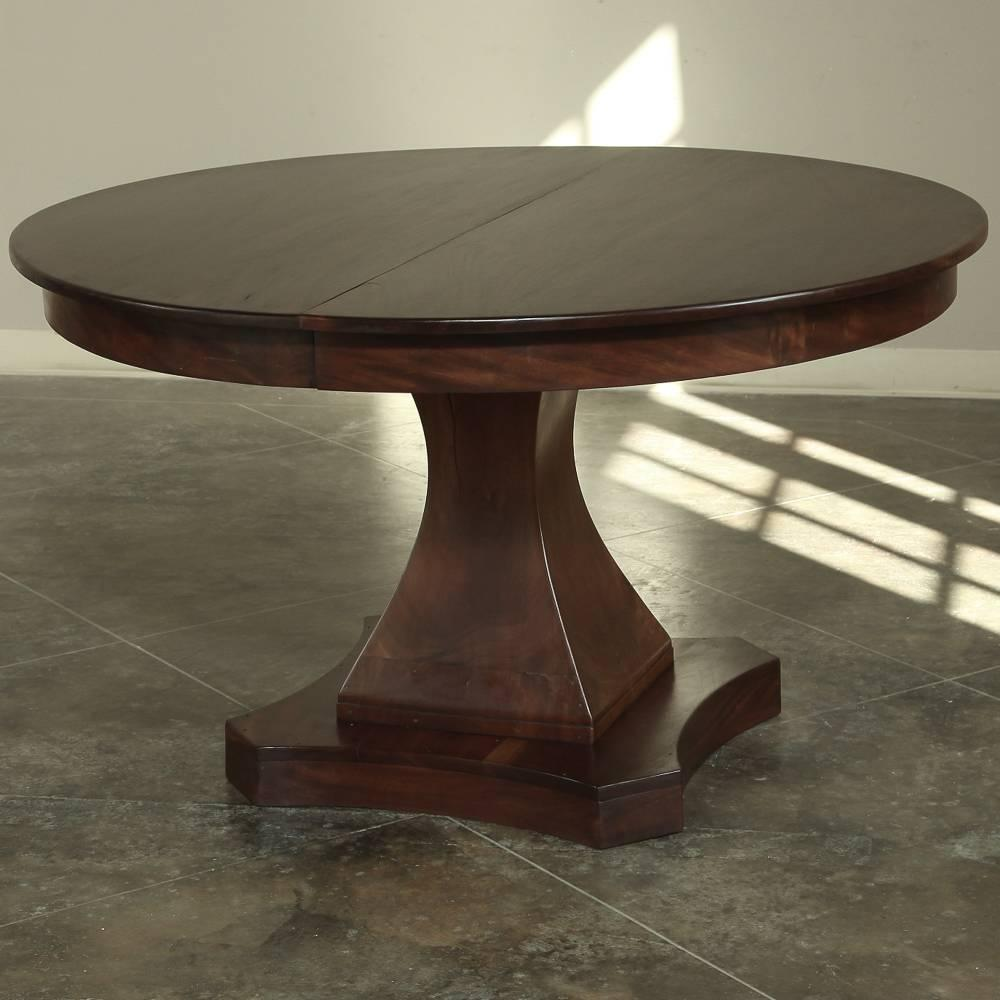 Round pedestal dining table with leaf for Pedestal dining table with leaf