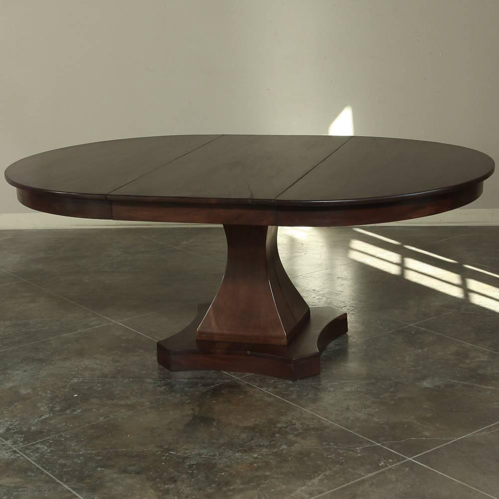 19th Century Mahogany Round Louis Philipe Pedestal Dining Table With Leaf At