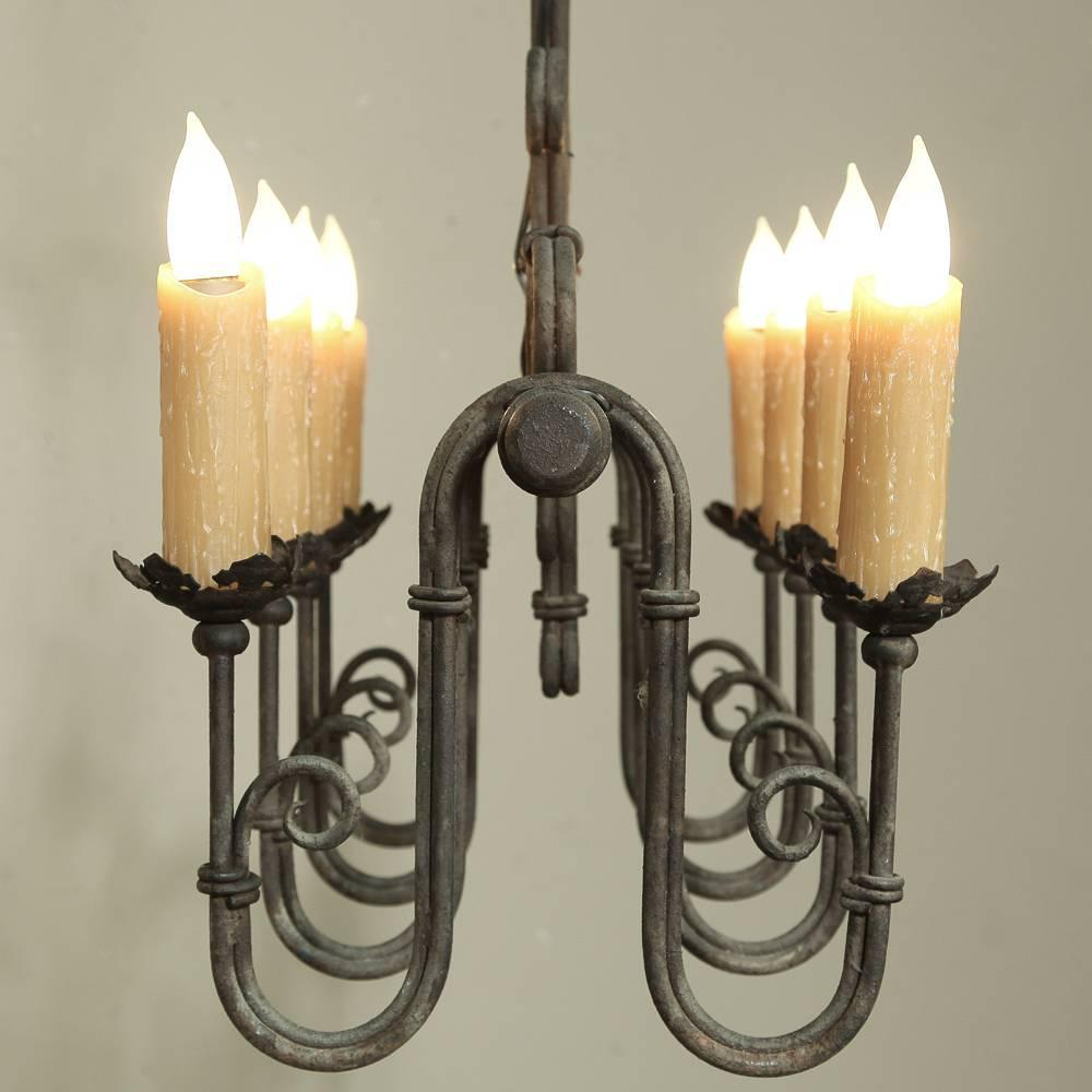 Country French Wrought Iron Chandelier at 1stdibs