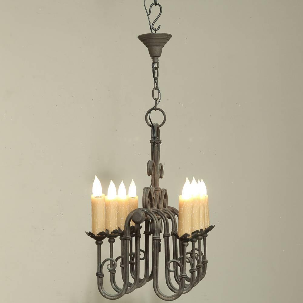 Country french wrought iron chandelier at 1stdibs French country chandelier