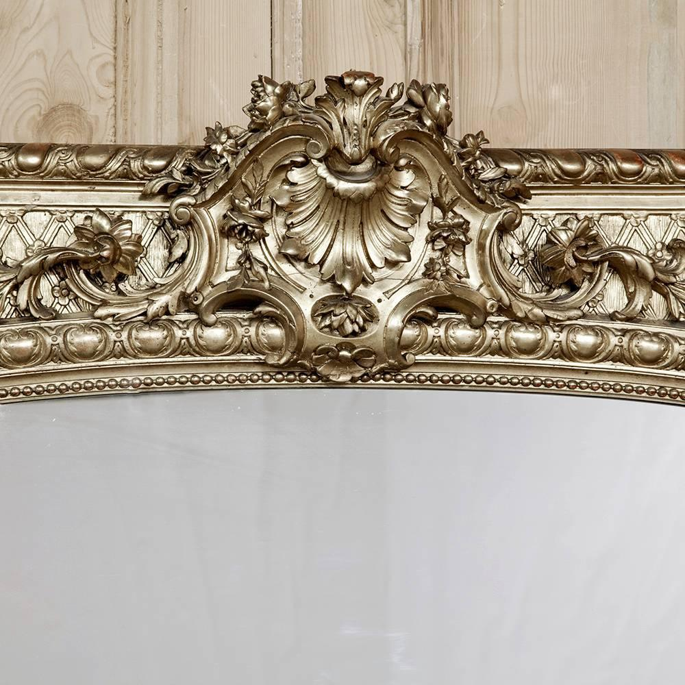 19th century grand french baroque gilded arched mirror at for Baroque mirror