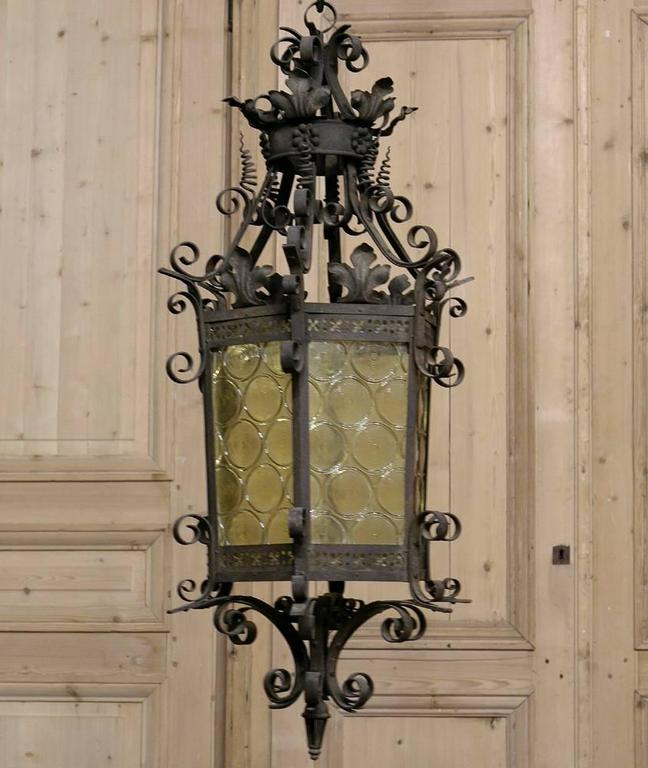 Country french wrought iron lantern chandelier at 1stdibs hammered country french wrought iron lantern chandelier for sale aloadofball Image collections
