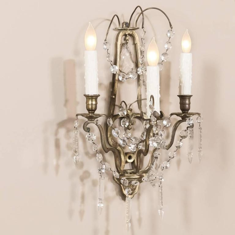 Pair of French Louis XVI Brass and Crystal Wall Sconces at 1stdibs