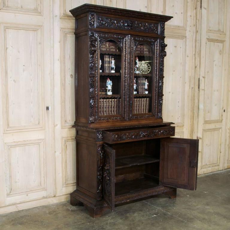 Hand Carved Bookshelf ~ Th century french renaissance hand carved bookcase or