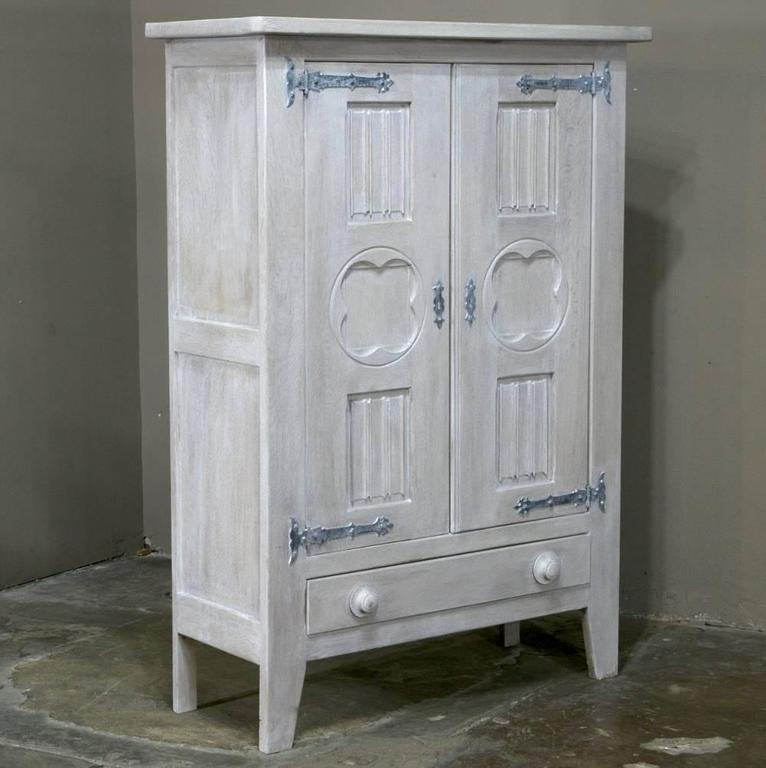 Cabinets Sale: Rustic Country French Painted Gothic Cabinet For Sale At