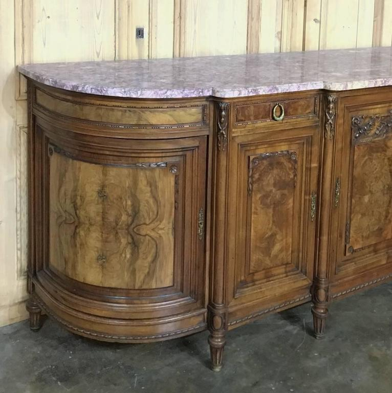 19th century french baroque burl walnut hand crafted marble top buffet for sa - Buffet baroque blanc ...