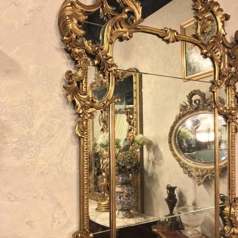 Antique hand carved italian baroque giltwood mirror w for Italian baroque mirror