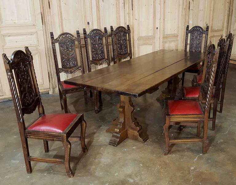 This Handsome Set Of Eight Hand Carved Antique Renaissance Dining Chairs  Were Designed To Last