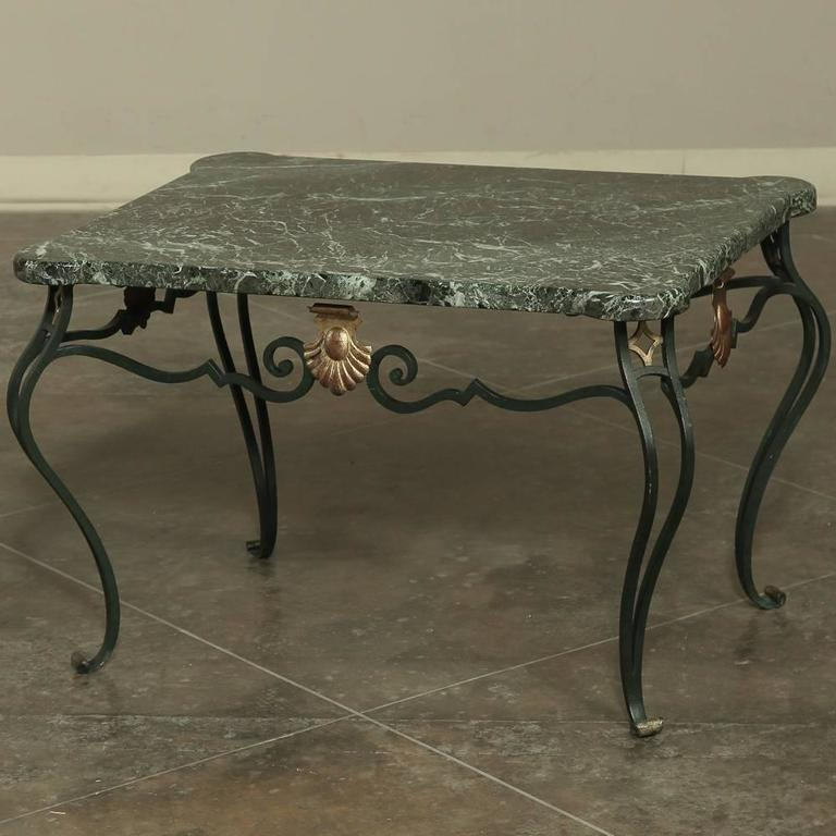 Marble Coffee Table Antique: Antique Italian Hand-Crafted Wrought Iron Marble-Top