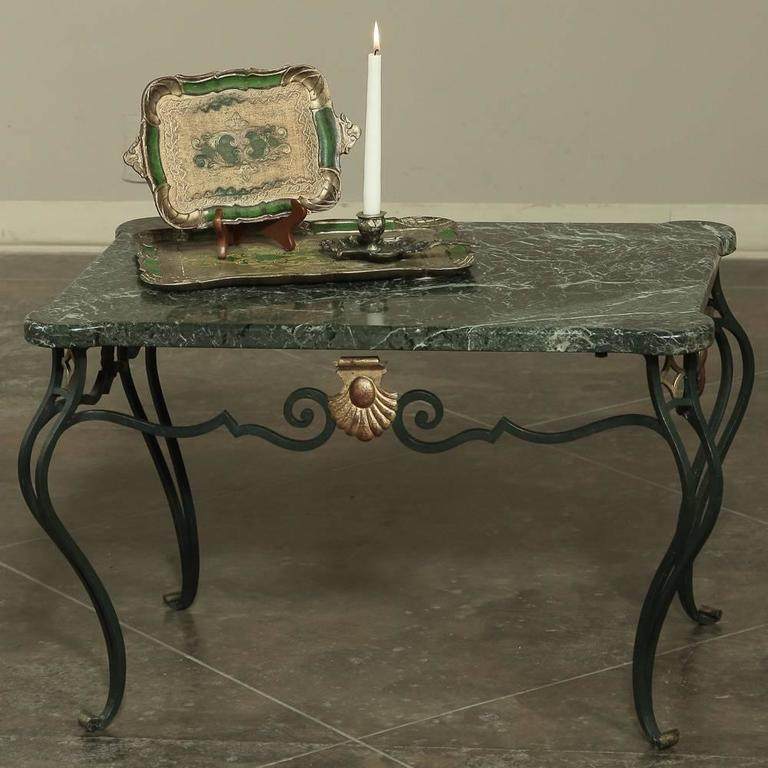 Antique White Marble Coffee Table: Antique Italian Hand-Crafted Wrought Iron Marble-Top