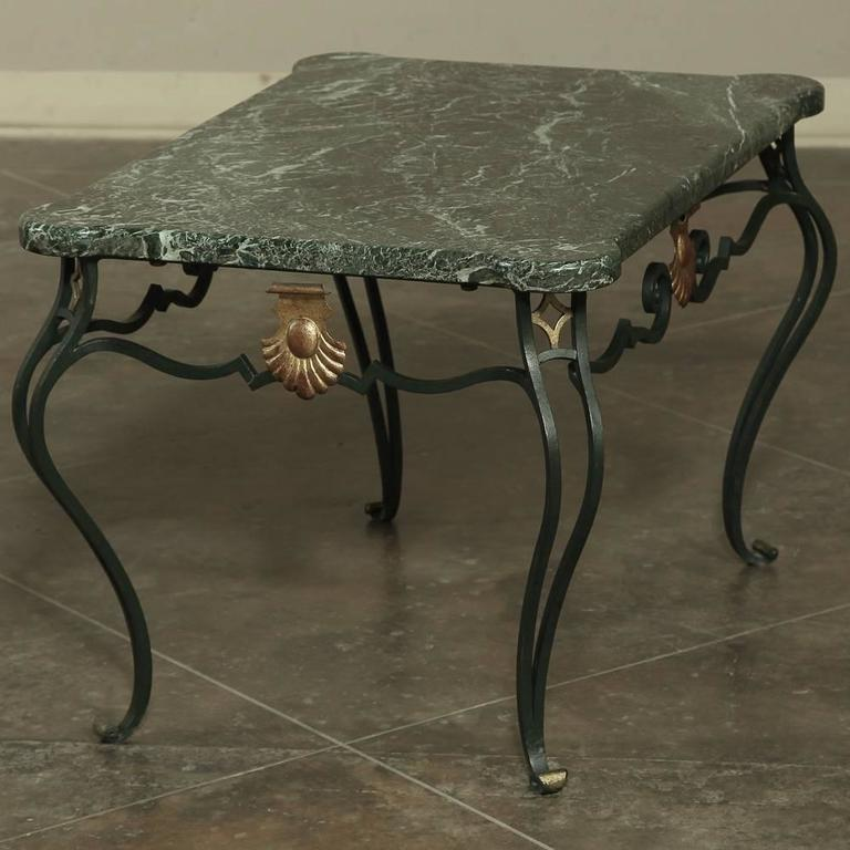 Italian Marble Coffee Table Top: Antique Italian Hand-Crafted Wrought Iron Marble-Top