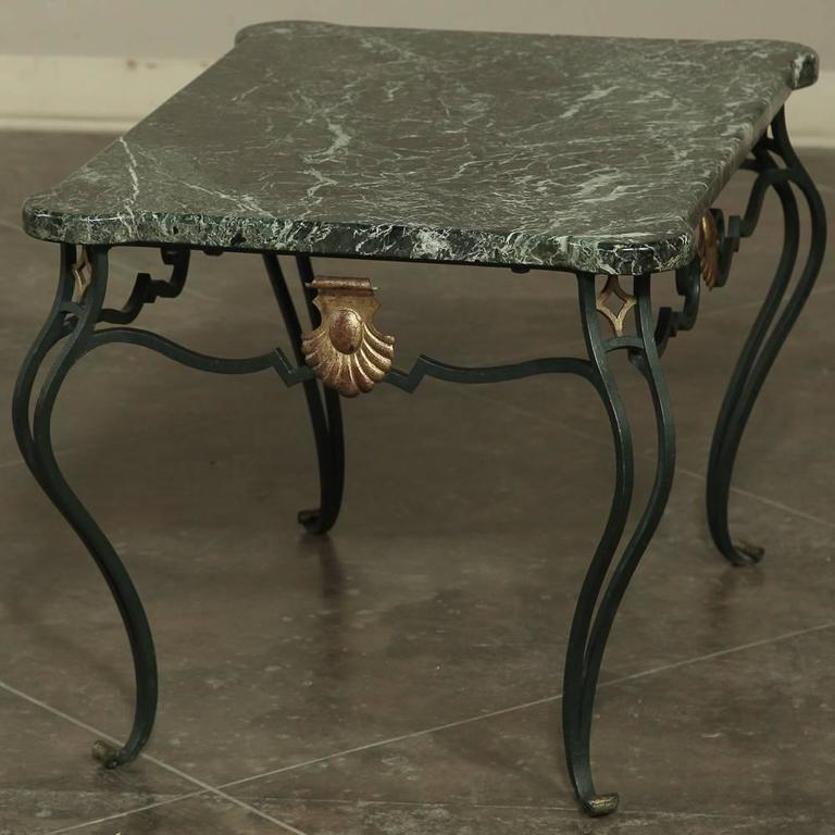 Old Marble Top Coffee Table: Antique Italian Hand-Crafted Wrought Iron Marble-Top