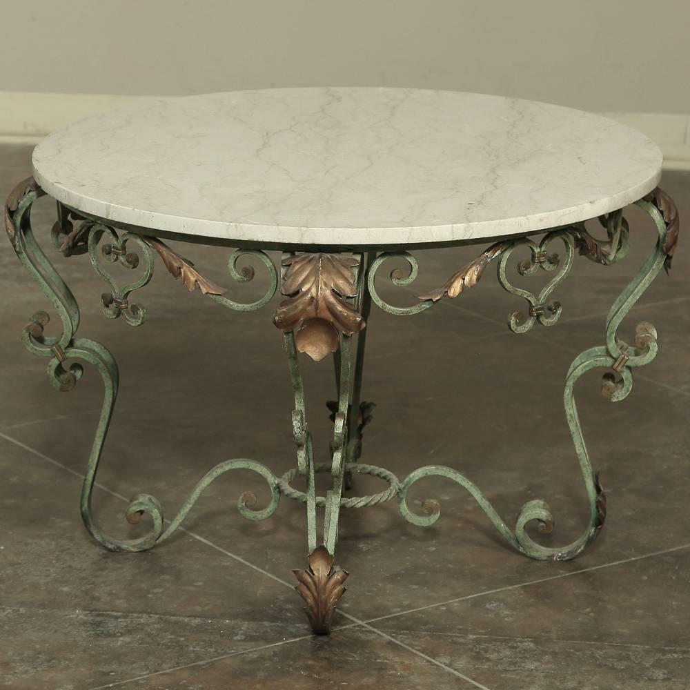 Antique wrought iron and marble coffee table for sale at for Marble and wrought iron coffee table