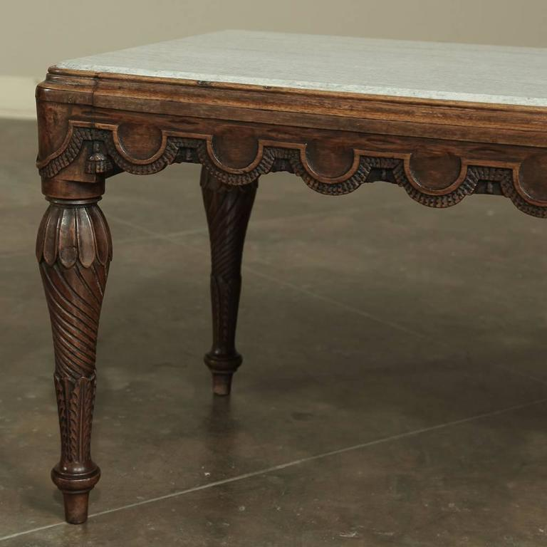 Mid century hand carved french louis xvi white carrera marble top coffee table at 1stdibs Hand carved coffee table