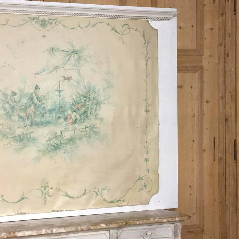 19th Century French Chinoiserie Wallpaper Panel on Painted Mount For Sale 1