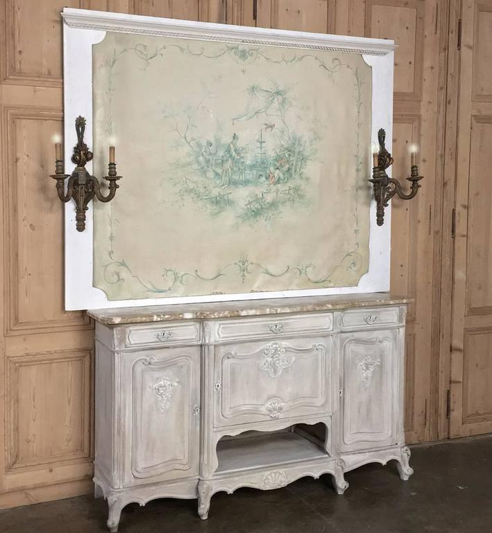 This charming hand-painted oriental scene was saved from a lavish Parisienne apartment, and as a 19th century French chinoiserie wallpaper mounted on a painted wooden frame, it is in remarkable condition! The muted colors ensure it will work with