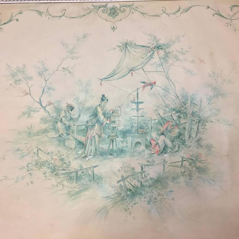 19th Century French Chinoiserie Wallpaper Panel on Painted Mount In Good Condition For Sale In Dallas, TX