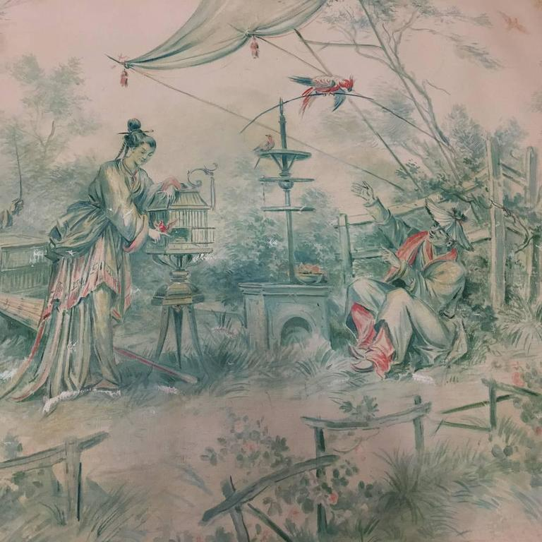 Late 19th Century 19th Century French Chinoiserie Wallpaper Panel on Painted Mount For Sale