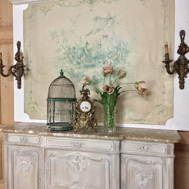 19th Century French Chinoiserie Wallpaper Panel on Painted Mount For Sale 6