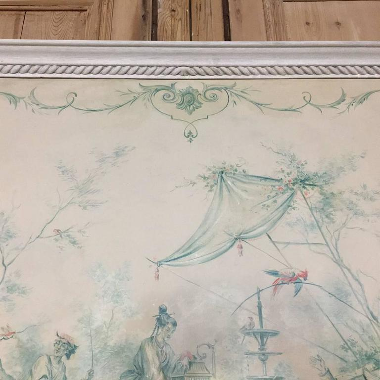 19th Century French Chinoiserie Wallpaper Panel on Painted Mount For Sale 5