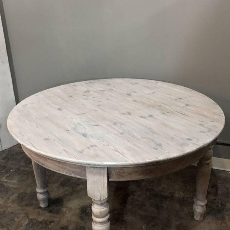 Antique Country French Round Whitewashed Dining Or Centre