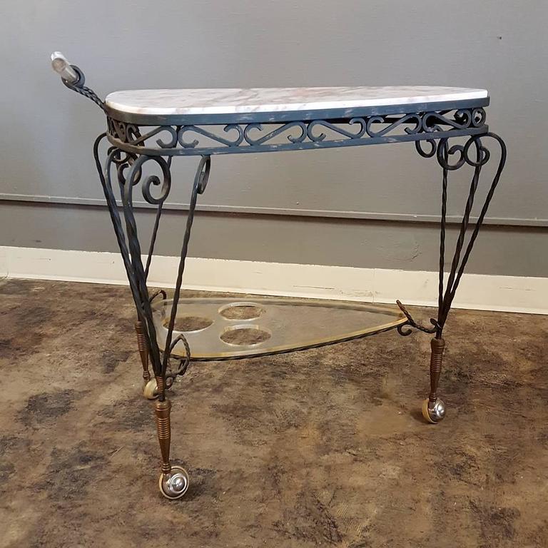 Art Deco Wrought Iron Marble-Top Bar Cart 1