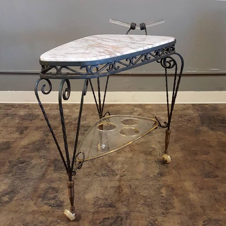 Art Deco Wrought Iron Marble-Top Bar Cart 2