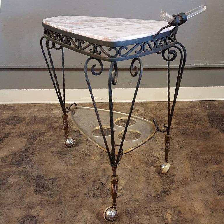 Art Deco Wrought Iron Marble-Top Bar Cart 4