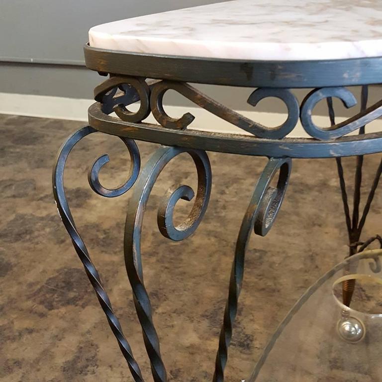 Art Deco Wrought Iron Marble-Top Bar Cart 3