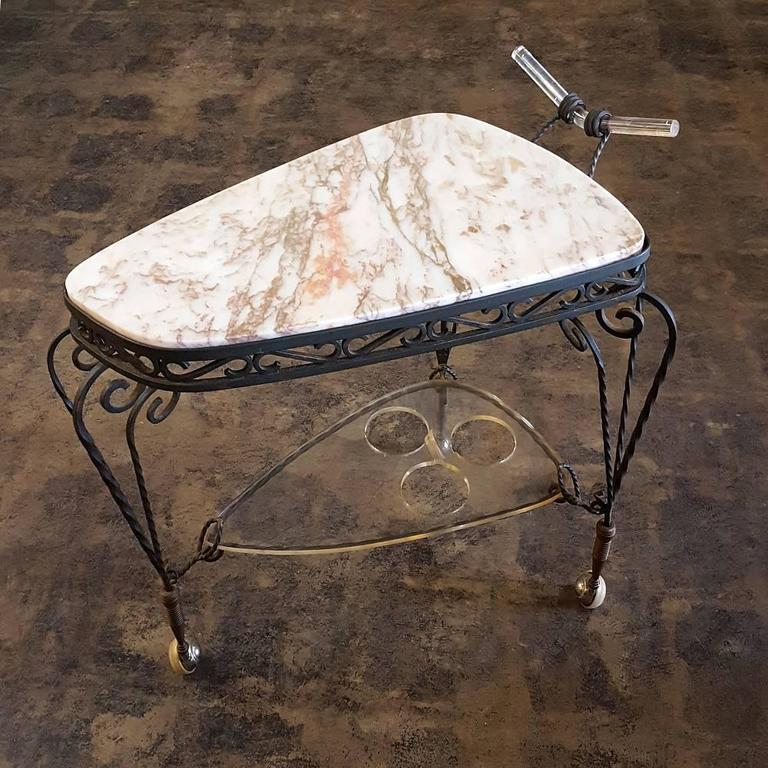 French Art Deco Wrought Iron Marble-Top Bar Cart