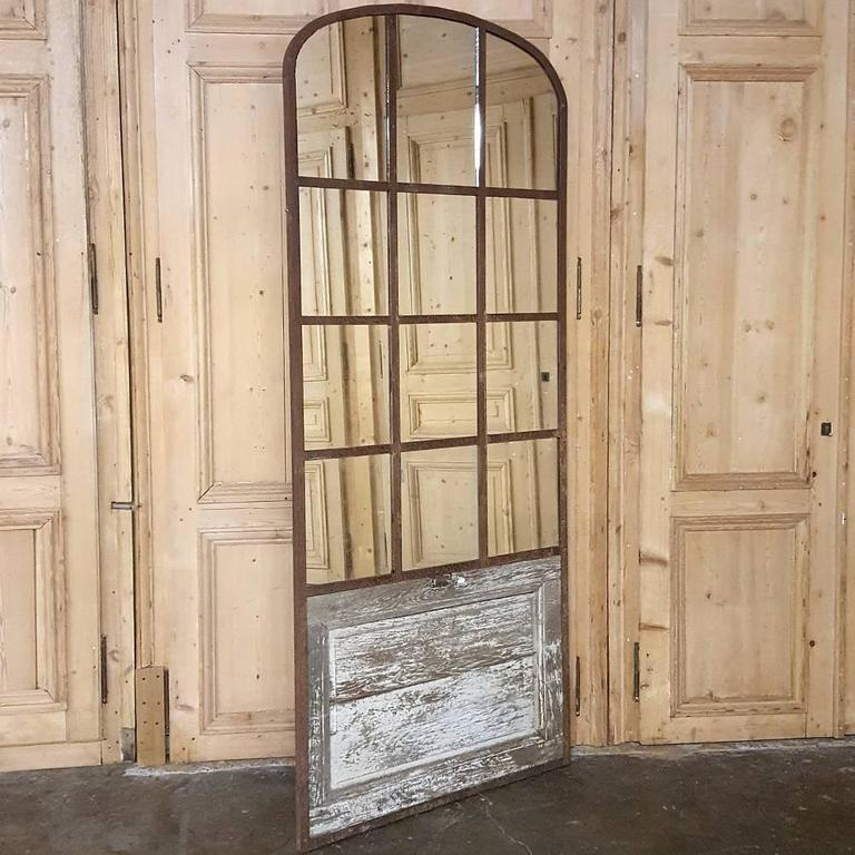 French 19th Century Arched Architectural Iron Window Mirror For Sale