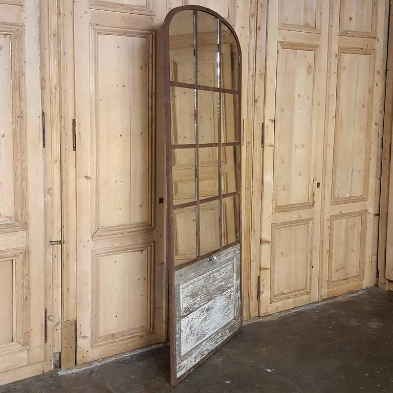 19th Century Arched Architectural Iron Window Mirror At