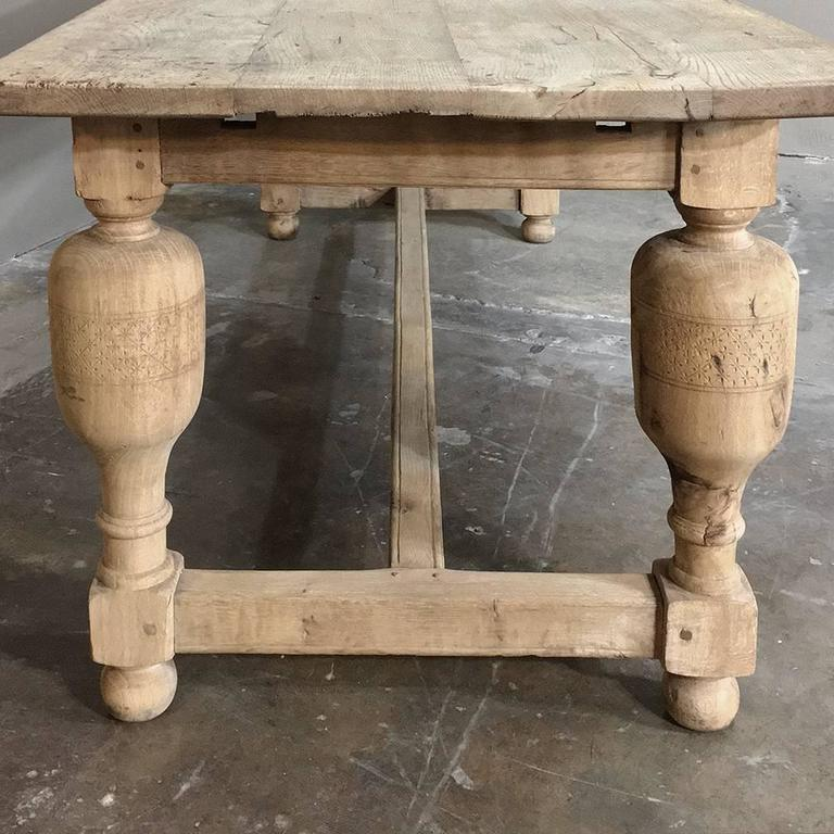 18th Century Rustic Stripped Oak Dining Table For Sale At