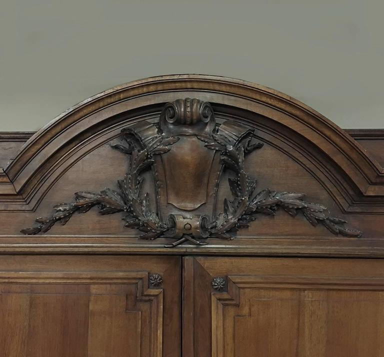 Hand-Crafted Grand 19th Century French Neoclassical Walnut Six-Door Armoire For Sale