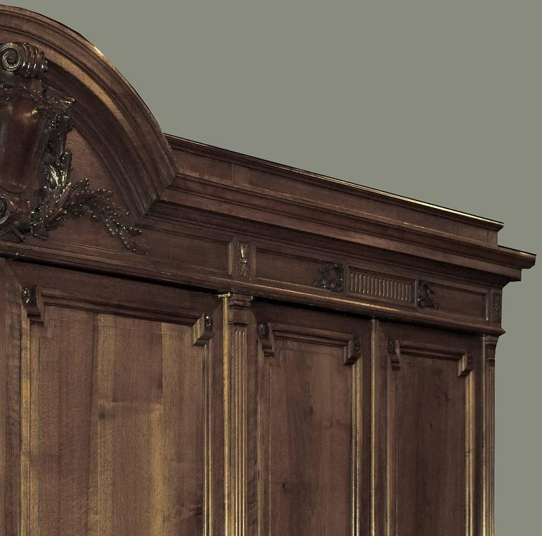 Late 19th Century Grand 19th Century French Neoclassical Walnut Six-Door Armoire For Sale