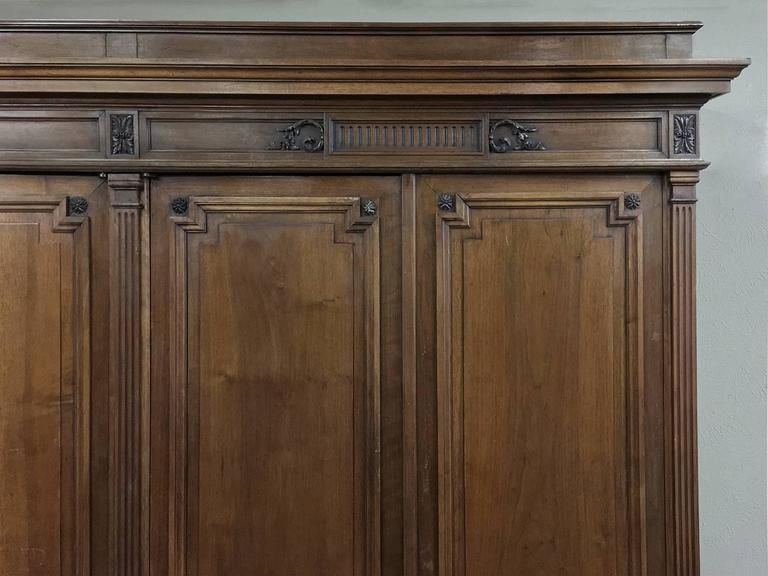 Grand 19th Century French Neoclassical Walnut Six-Door Armoire For Sale 1